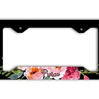 Pretty personalized license plate and frame [SET] - Black with pink flowers - Monogrammed front car tag