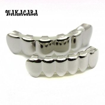 DCCKF4S 6 Tooth FREE SHIPPING Silver Custom Top Bottom GRILLZ Bling Mouth Teeth Caps Hip Hop Grills