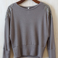 Girl About Lace Sweater, Taupe