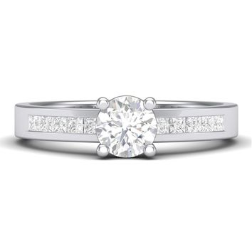 30 Pointer Solitaire Platinum Engagement Ring with Princess Cut Diamond Accents for Women JL PT 461