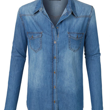 LE3NO Womens Plus Size Lightweight Long Sleeve Button Down Denim Shirt
