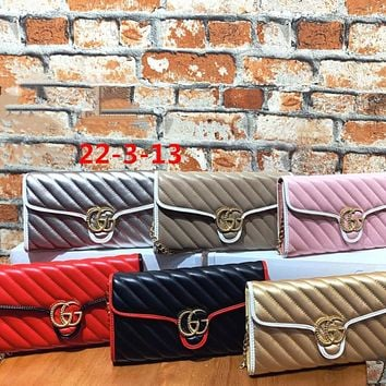 """""""Gucci"""" Fashion All-match Double G Letter Embossed Twill Handbag Messenger Bag Women Clutch Small Bag"""