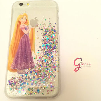 Rapunzel iPhone 6+, 6, 5s, 5c, 5, 4s, 4 phone case Sparkly Disney inspired hard resin glitter case