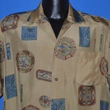 50s Silk Tribal Print Hawaiian Shirt Large