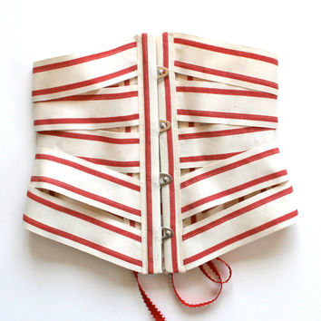 Belt Cincher Corset Ribbon / Red Cream Beige Natural Cotton Silver / Small - Dixie Ribbon Corset