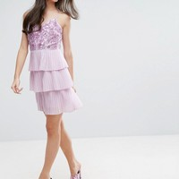 Maya Petite Embellished Top Mini Dress With Layered Pleated Skirt at asos.com