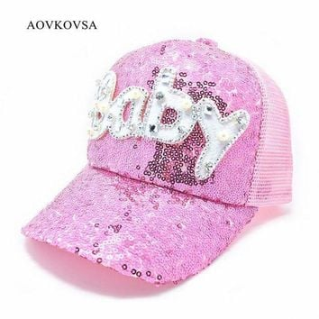 ESBG8W 2017 Top Fashion New Adult Pearl Sequins Pearl Baseball Cap Women And Letter Baby Shiny Snapback Hat