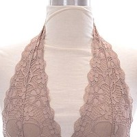 Halter Lace Bralette, Taupe