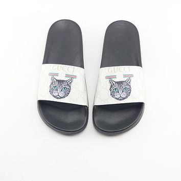GUCCI Sandals Slippers Sliders Summer Shoes GG Flip Flop Cats Print