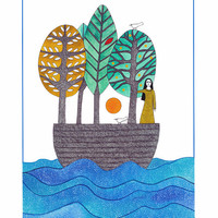 Print Of Ink Watercolour Illustration Painting Drawing Artwork Woman In Boat With Trees And Birds Narrative Art