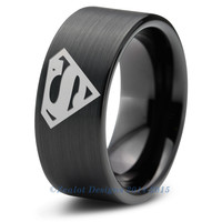 Superman Tungsten Wedding Band Ring Mens Womens Pipe Cut Brushed Black Fanatic Comic Geek Anniversary Engagement ALL Custom Sizes Available