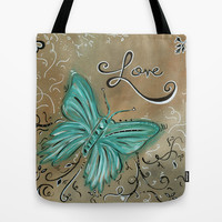 Decorative Butterfly Art Original Inspirational Painting LIVE AND LOVE by MADART Tote Bag by Megan Aroon Duncanson ~ MADART