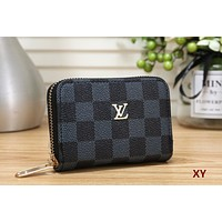 LV 2019 new female organ card holder credit card set small purse Black check