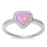 Sterling Silver Micro Pave Halo Created Pink Opal Heart Ring