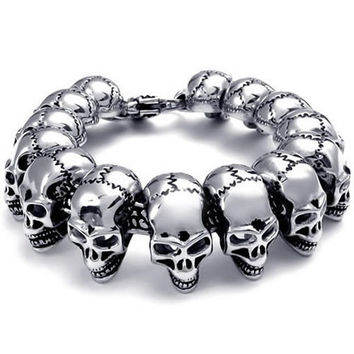 Heavy Men's 316L Stainless Steel Skull Head Bracelet 220mm