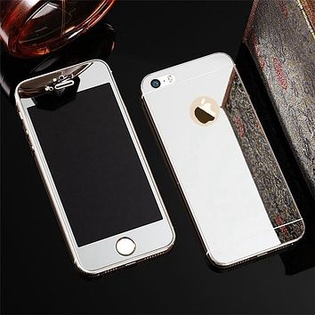 2 Pcs/Lot Front+Back  For iPhone 7 8 5 5s SE 6 6Plus 6s Plus Case Mirror Electroplating Screen Protective Film Tempered glass