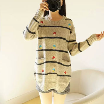 Ladies Embroidery Round-neck Pullover Knit Winter Sweater [9584889290]