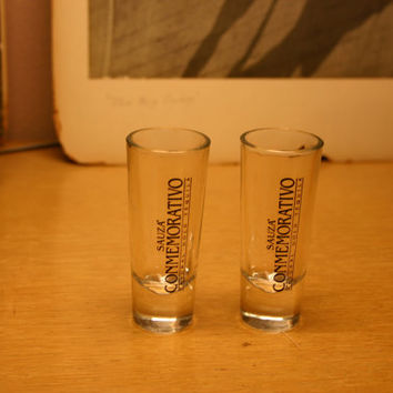 Two Commemorativo Sauze Tequila Tall Shot Glasses! Hipster Barware 1970's Retro Hipster Cool!!
