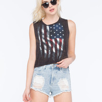 Full Tilt American Flag Womens Crop Muscle Tank Black  In Sizes