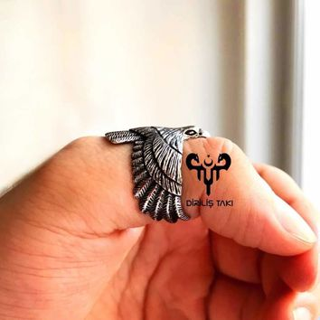 Eagle bird sterling silver archery ring