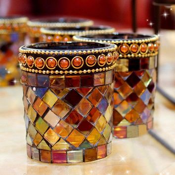 Tea Light Candle Holder Handcrafted Amber Mosaic Glass Candlestick Home Wedding Decor Gift