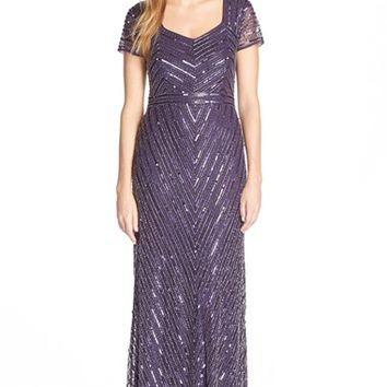 Women's Adrianna Papell Beaded Short Sleeve Gown,