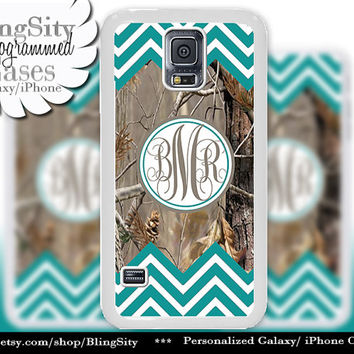 Monogram Galaxy S4 case S5 Turquoise Chevron Stripes Real Tree Camo Deer Personalized Samsung Galaxy S3 Case Note 2 3 Cover Zig Zag