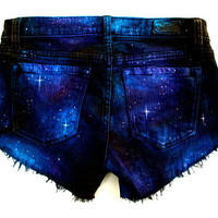 Made to Order Galaxy Hand Painted Custom Cut Offs by GirlMeetsClothes on Etsy