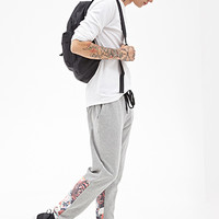 Floral Paneled Sweatpants Heather Grey/Red