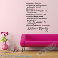 Audrey Hepburn Wall Quote - Vinyl Wall Decals - I Believe in Pink - Girly Wall Quote - Vinyl Lettering - 23x30