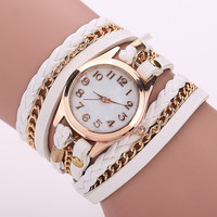 Gold Dial Dress Leather Strap Quartz Wrist Watches