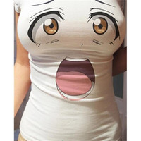 Kawaii Emotion T shirt Funny Eyes Surprised Expression Cartoon Print Women Tops = 1956740548