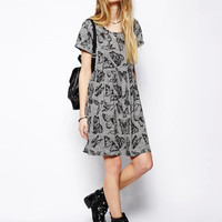 Gray Butterfy Print Short-Sleeve Pleated Dress