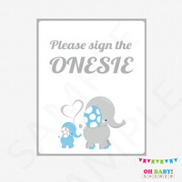 Please Sign the Onesuit, Blue Elephant Baby Shower, Guestbook Alternative, Sign Baby Onesuit, Blue and Gray Elephant, Baby Boy, Download ELLBG