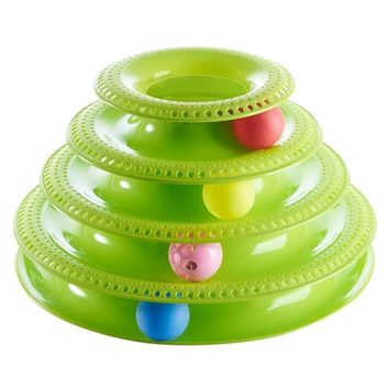 Plastic Three or Four Levels Tower Tracks Disc Cat Toy Amusement Shelf Play Station Pet Cats Triple Play Disc Ball Toys Chat