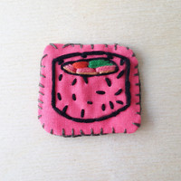 Sushi Fabric Small Felt Patch Japanese Food Art Hand Embroidery Art Funny Embroidery Patch Fun Quote Wearable Embroidery Patch Food Decor