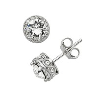 Diamond Essence Crystal & Diamond Accent Halo Stud Earrings - Made With Swarovski Elements (White)