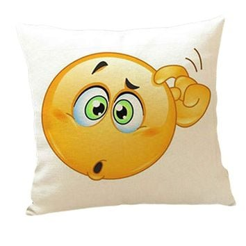 Cute QQ Expression Square Pattern smiley face pillow emoji pillowcase