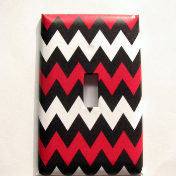 Light Switch Cover - Light Switch Plate Red White Black Chevron
