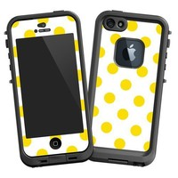 "Sunshine Polka Dot on White ""Protective Decal Skin"" for LifeProof fre iPhone 5/5s Case"