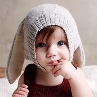 Baby Rabbit Ears Knitted Hat Infant Toddler Winter Cap For Children 0-5 Years Girl Boy Accessories Photography Props