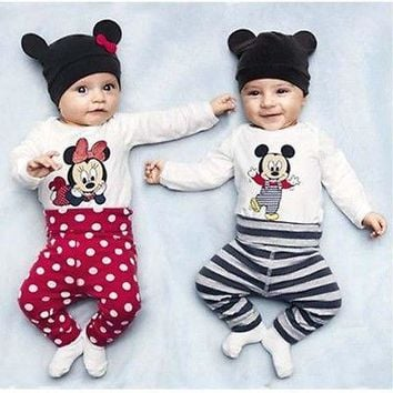 Baby Kids Romper Micky Mouse Minnie Cartoon Outfits 3pcs Tops+Pants+Hats Sets