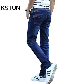 KSTUN Jeans Men's Stretch Blue Buttons Pockets Design Slim Fit Skinny Denim Pants Joggers Jeans Casual Biker Motor Male Trousers