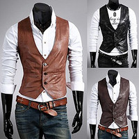 Slim Fit Men Fashion Leather Vest