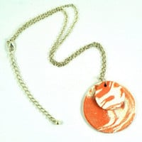 Ceramic Pendant Diffuser Necklace Handmade Jewellery Round Rustic Double Disc Aromatherapy Pendant - Terracotta Marbled Orange and White
