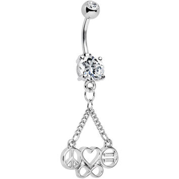 Clear Gem Peace Sign Heart Love Equality Infinity Dangle Belly Ring