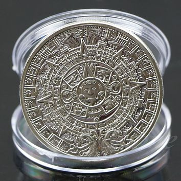 New Silver Plated Mayan Aztec Calendar Souvenir Commemorative Coin Collection MAR18_15