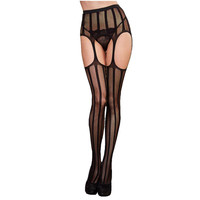 Women Sexy Stripe Lace Top Garter Belt Thigh Stocking Pantyhose Black Women Sexy Panties Elastic Stockings