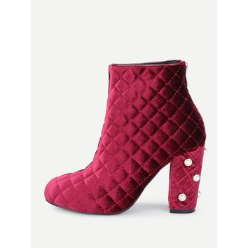 Faux Pearl Quilted Block Heeled Ankle Boots
