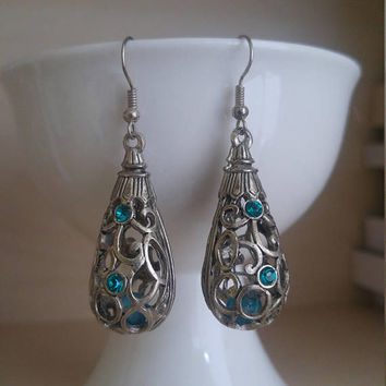 Tear Drop Earrings 3D Blue Crystals Old Patina Marocan Style Handcrafted Witch Earring Witchcraft